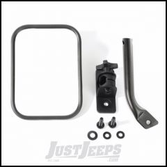 Rugged Ridge (Textured Black) Rectangular Stubby Trail Mirror For 1997-18 Jeep Wrangler TJ Models, JK 2 Door & Unlimited 4 Door Models 11025.20