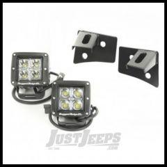 Rugged Ridge Windshield Light Bracket Kit in Black with Square LED Lights For 2007-18 Jeep Wrangler JK 2 Door & Unlimited 4 Door Models 11027.10