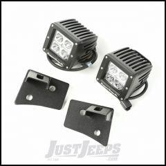"Rugged Ridge Windshield LED Light Kit Textured Black With Mounting Brackets & Two 3"" Square LED Lights For 2007-18 Jeep Wrangler JK 2 Door & Unlimited 4 Door Models 11027.16"