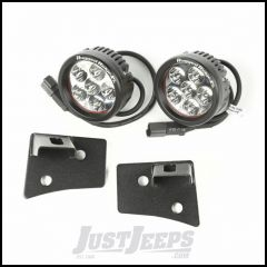 "Rugged Ridge Windshield LED Light Kit Textured Black With Mounting Brackets & Two 3.5"" Round LED Lights For 2007-18 Jeep Wrangler JK 2 Door & Unlimited 4 Door Models 11027.17"