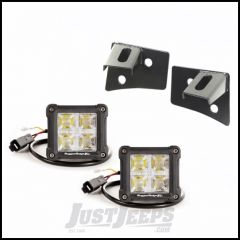 """Rugged Ridge Windshield LED Light Kit Black With Mounting Brackets & Two 3"""" Square Dual Beam LED Lights For 2007-18 Jeep Wrangler JK 2 Door & Unlimited 4 Door Models 11027.18"""