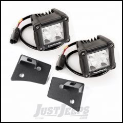 "Rugged Ridge Windshield LED Light Kit Textured Black With Mounting Brackets & Two 3"" Square Dual Beam LED Lights For 2007-18 Jeep Wrangler JK 2 Door & Unlimited 4 Door Models 11027.20"