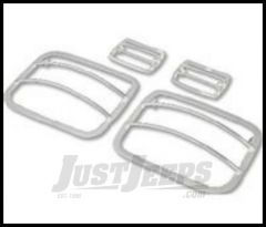 Rugged Ridge Front Side Marker and Park Euro Guards Polished 304 stainless For 1987-95 Jeep Wrangler YJ 11142.03
