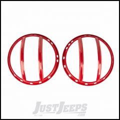 Rugged Ridge Headlight Euroguards Red Finish For 2007-18 Jeep Wrangler JK 2 Door & Unlimited 4 Door Models 11230.17