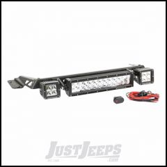"Rugged Ridge Hood Mounted Light Bar Kit With 3"" Square LED Lights, 13.5"" LED Bar & Wiring Kit For 1997-06 Jeep Wrangler TJ & TJ Unlimited Models 11232.15"