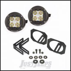 "Rugged Ridge LED Fog Light Kit With Mounts & Two 3.5"" Round Dual Beam LED Lights For 2007-18 Jeep Wrangler JK 2 Door & Unlimited 4 Door Models 11232.17"