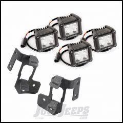 "Rugged Ridge Dual A-Pillar Textured Black Light Mount Kit With 4 3"" Square Dual Beam LED Lights For 2007-18 Jeep Wrangler JK 2 Door & Unlimited 4 Door Models 11232.19"