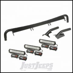 "Rugged Ridge Windshield Mounted Light Bar Kit With 3 X 13.5"" Combo LED Lights, Wiring Harness & Rocker Switches For 1997-06 Jeep Wrangler TJ & TJ Unlimited Models 11232.29"