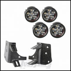 "Rugged Ridge Dual A-Pillar LED Light Kit With 4 3.5"" Round LED Driving Lights For 1997-06 Jeep Wrangler TJ & TJ Unlimited Models 11232.37"