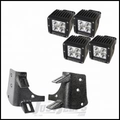 "Rugged Ridge Dual A-Pillar LED Light Kit With 4 3"" Square LED Driving Lights For 1997-06 Jeep Wrangler TJ & TJ Unlimited Models 11232.38"