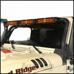 Rugged Ridge Windshield Mount LED Light Bar Kit Textured Black With 3 LED Light Bars & Amber Light Covers For 2007-18 Jeep Wrangler JK 2 Door & Unlimited 4 Door Models 11232.41