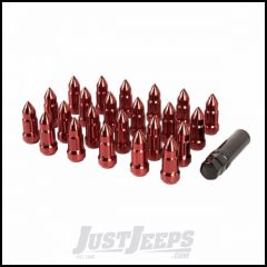 Alloy USA 23 Pack Of Red Bullet Shaped 1/2 X 20 Lug Nuts With Adapter - 50mm Long 11290