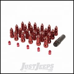 Alloy USA Lug Nut & Valve Stem Cap Kit Includes 23 Red Bullet Style Lug Nuts & 5 Red Aluminum Valve Stem Caps They Fit Vehicles With 1/2 Wheel Studs 11293