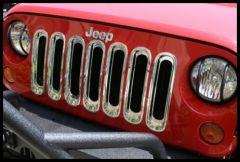Rugged Ridge Grille Inserts in Chrome For 2007-18 Jeep Wrangler JK 2 Door & Unlimited 4 Door Models 11306.20