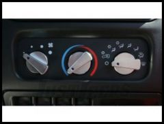 Rugged Ridge Billet Aluminum Climate Control Knobs Blue insert 1999-06 TJ Wrangler, Rubicon and Unlimited 11420.03