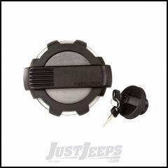 Rugged Ridge Elite Non-Locking Brushed Aluminum & Black Fuel Door Kit With Locking Fuel Cap For 2007+ Jeep Wrangler JK 2 Door & Unlimited 4 Door Models 11425.15
