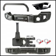 Rugged Ridge Spartacus Front & Rear Bumper Set With Over-Rider Bar, Winch Plate, HD Tire Carrier Kit & D-Ring Shackles For 2007-18 Jeep Wrangler JK 2 Door & Unlimited 4 Door Models 11544.63