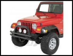 Rugged Ridge Double Tube Front Bumper with Hoop in Gloss Black 1976-06 Wrangler YJ TJ and CJ Series 11560.01