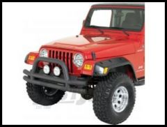 Rugged Ridge Double Tube Front Bumper with Hoop in Textured Black 1976-06 Wrangler YJ TJ and CJ Series 11561.01