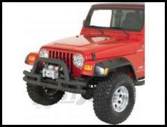 Rugged Ridge Double Tube Front Winch Bumper with Hoop in Textured Black 1976-06 Wrangler YJ TJ and CJ Series 11561.03