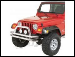 Rugged Ridge Double Tube Front Bumper with Hoop in Stainless Steel 1976-06 Wrangler YJ TJ and CJ Series 11563.01
