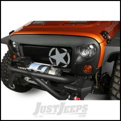 Rugged Ridge Spartan Grille Insert Black With White Military Star For 2007-18 Jeep Wrangler JK 2 Door & Unlimited 4 Door Models 12034.21