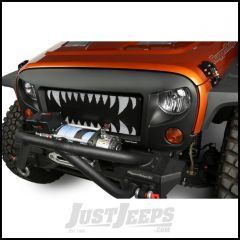 Rugged Ridge Spartan Grille Insert Black With White Teeth For 2007-18 Jeep Wrangler JK 2 Door & Unlimited 4 Door Models 12034.24
