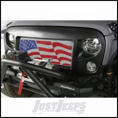 Rugged Ridge Spartan Grille With American Flag Insert In Satin Black For 2007-18 Jeep Wrangler JK 2 Door & Unlimited 4 Door Models 12034.32