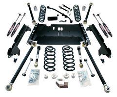 """TeraFlex 4"""" Enduro LCG Long Flexarm Suspension System w/ 9550 Shocks For 1997-06 Jeep Wrangler TJ 1249472"""