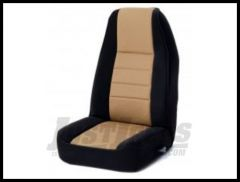Rugged Ridge Fabric Custom-Fit Front Seat Covers Tan on black 1991-95 Jeep Wrangler YJ 13241.04