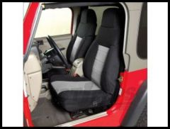 Rugged Ridge Fabric Custom-Fit Front Seat Covers Gray on black 2003-06 TJ Wrangler, Rubicon and Unlimited 13243.09