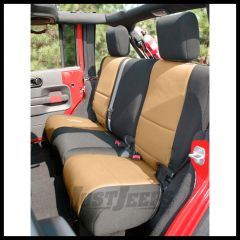 Rugged Ridge Custom Fit Neoprene Rear Seat Covers Black on Tan 2007+ JK Wrangler 13264.04
