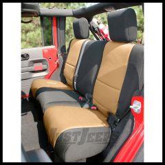 Rugged Ridge Custom Fit Neoprene Rear Seat Covers Black on Tan 2007+ JK Wrangler 13265.04