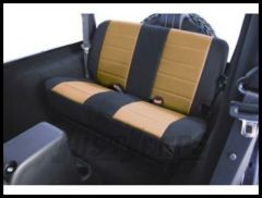 Rugged Ridge Fabric Custom-Fit Rear Seat Cover Tan on black 2003-06 TJ Wrangler, Rubicon and Unlimited 13282.04