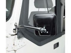 Rampage Side Mirrors Black Pair For 1976-95 Jeep CJ Series & Wrangler YJ (Bolts to Side of Hinge With 2 Screws) 7618
