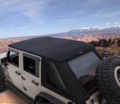 Bushwacker Trail Armor Fast Back Soft Top In Black Smooth For 2007-18 Jeep Wrangler JK Unlimited 4 Door Models