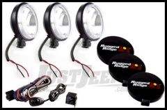 "Rugged Ridge 6"" Off Road Slim Light Kit with Wiring Harness in Black 100W (3 Piece) 15207.68"