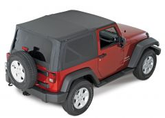 QuadraTop Replacement Soft Top with Tinted Windows in Black Diamond for 07-18 Jeep Wrangler JK 2 Door 11000JK-