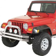 Quadratec QR3 Dual-Tube Front Bumper with Hoop for 76-06 Jeep CJ, YJ, TJ & Unlimited 12061H-
