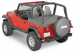 QuadraTop Tonno Cover in Black Denim for 87-91 Jeep Wrangler YJ with Factory Soft Top and ½ Steel Doors 11051.3015