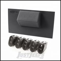 Rugged Ridge Lower Switch Panel Kit For 2007-10 Jeep Wrangler JK 2 Door & Unlimited 4 Door Auto Transmission Models With Five Etched Rocker Switches 17235.72