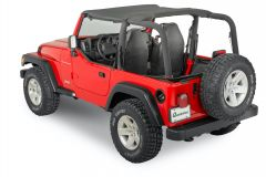 QuadraTop Bimini, Clearview Windstopper & Tonno Cover Combo in Black Diamond for 03-06 Jeep Wrangler TJ 11022.9030