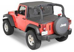 QuadraTop Bimini, Clearview Windstopper & Tonno Cover Combo in Black Diamond for 07-18 Jeep Wrangler JK 2 Door 11022-