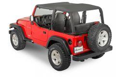 QuadraTop Bimini Top Plus, Clearview Windstopper & Tonno Cover Combo in Black Diamond for 03-06 Jeep Wrangler TJ 11022.9130