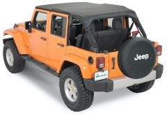 QuadraTop Bimini Top Plus, Clearview Windstopper & Tonno Cover Combo in Black Diamond for 07-18 Jeep Wrangler Unlimited JK 4 Door 11022JKU-