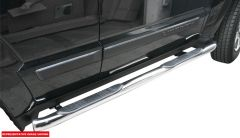 """Aries Automotive 3"""" Round Side Bars In Gloss Black For 2008-12 Jeep Liberty KK Models 201005"""