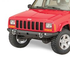 """JCR Offroad Crusader Front Bumper with 2"""" Receiver Hitch for 84-01 Jeep Cherokee XJ XJFC-R-PC"""