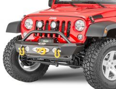 LoD Offroad Offroad Signature Series Shorty Front Winch Bumper with Bull Bar for 07-18 Jeep Wrangler JK for Warn PowerPlant Winch JFB0737
