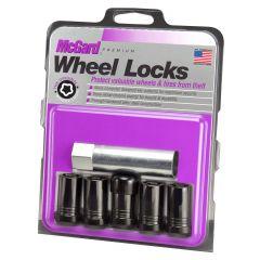 McGard Black Tuner Style Cone Seat Wheel Locks (M14 x 1.5 Thread Size) - Set of 5 Locks For 2018+ Jeep Wrangler JL Models 25515BK