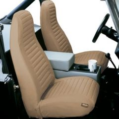 BESTOP Front High Back Bucket Seat Covers In Tan Denim For 1976-91 Jeep Wrangler & CJ Series 29227-04